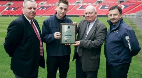 """Well done Aiden!"" Toro and Lely present Wembley Stadium Turf Scholarship winner with commemorative plaque"